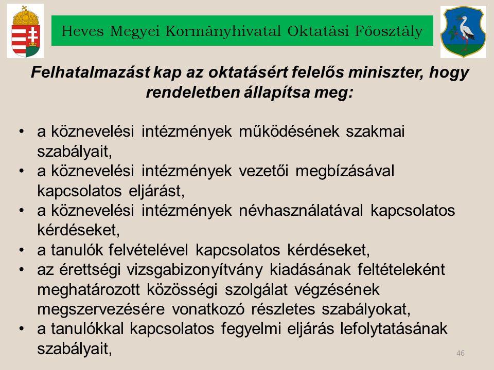 46 Heves Megyei Kormányhivatal Oktatási Főosztály Felhatalmazást kap az oktatásért felelős miniszter, hogy rendeletben állapítsa meg: a köznevelési intézmények működésének szakmai szabályait, a köznevelési intézmények vezetői megbízásával kapcsolatos eljárást, a köznevelési intézmények névhasználatával kapcsolatos kérdéseket, a tanulók felvételével kapcsolatos kérdéseket, az érettségi vizsgabizonyítvány kiadásának feltételeként meghatározott közösségi szolgálat végzésének megszervezésére vonatkozó részletes szabályokat, a tanulókkal kapcsolatos fegyelmi eljárás lefolytatásának szabályait,