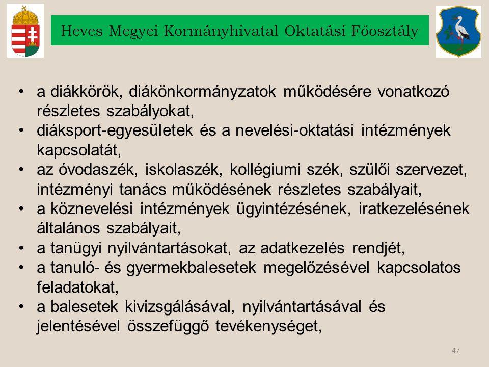 47 Heves Megyei Kormányhivatal Oktatási Főosztály a diákkörök, diákönkormányzatok működésére vonatkozó részletes szabályokat, diáksport-egyesületek és