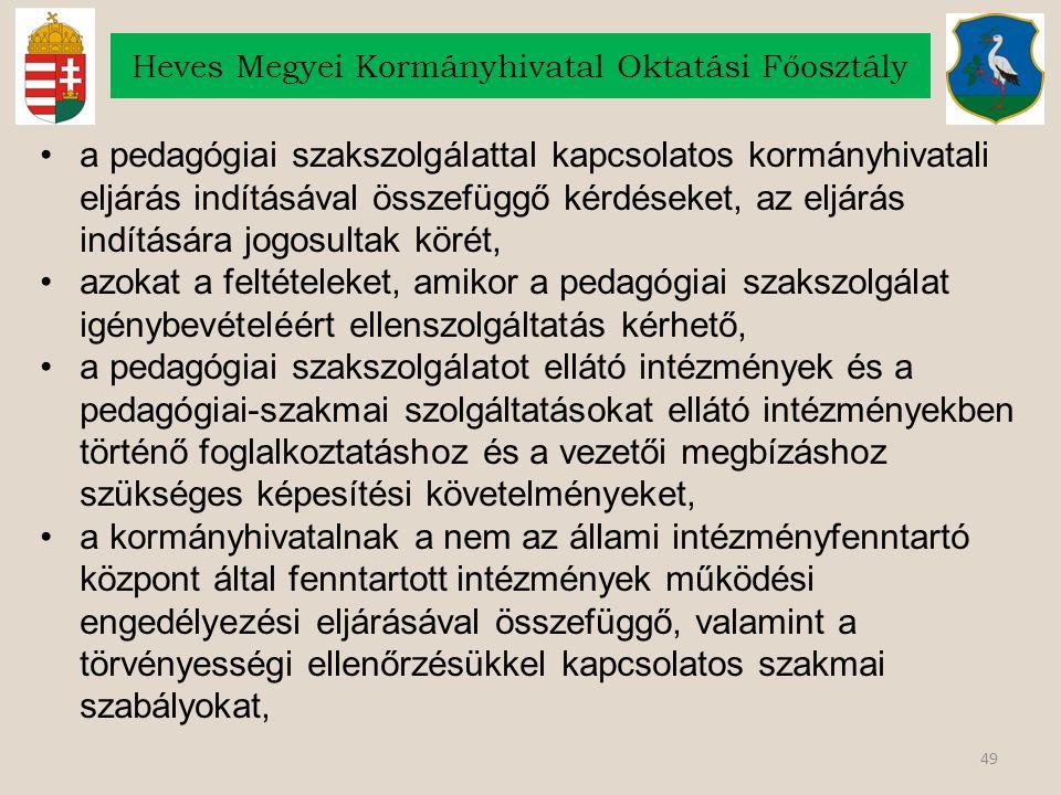 49 Heves Megyei Kormányhivatal Oktatási Főosztály a pedagógiai szakszolgálattal kapcsolatos kormányhivatali eljárás indításával összefüggő kérdéseket,