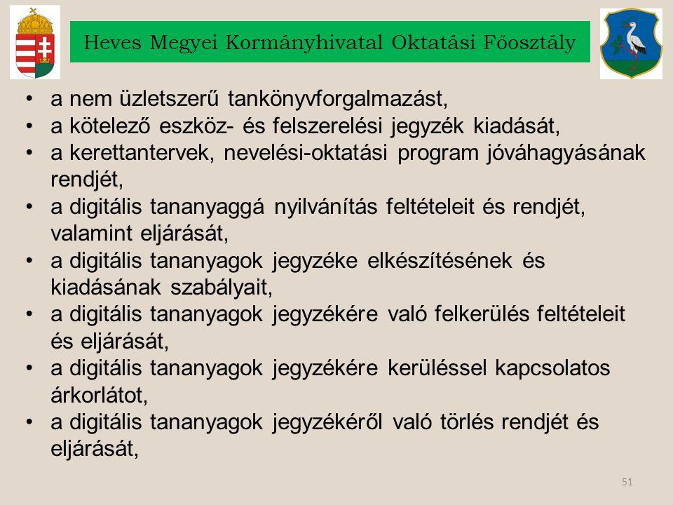 51 Heves Megyei Kormányhivatal Oktatási Főosztály a nem üzletszerű tankönyvforgalmazást, a kötelező eszköz- és felszerelési jegyzék kiadását, a kerett