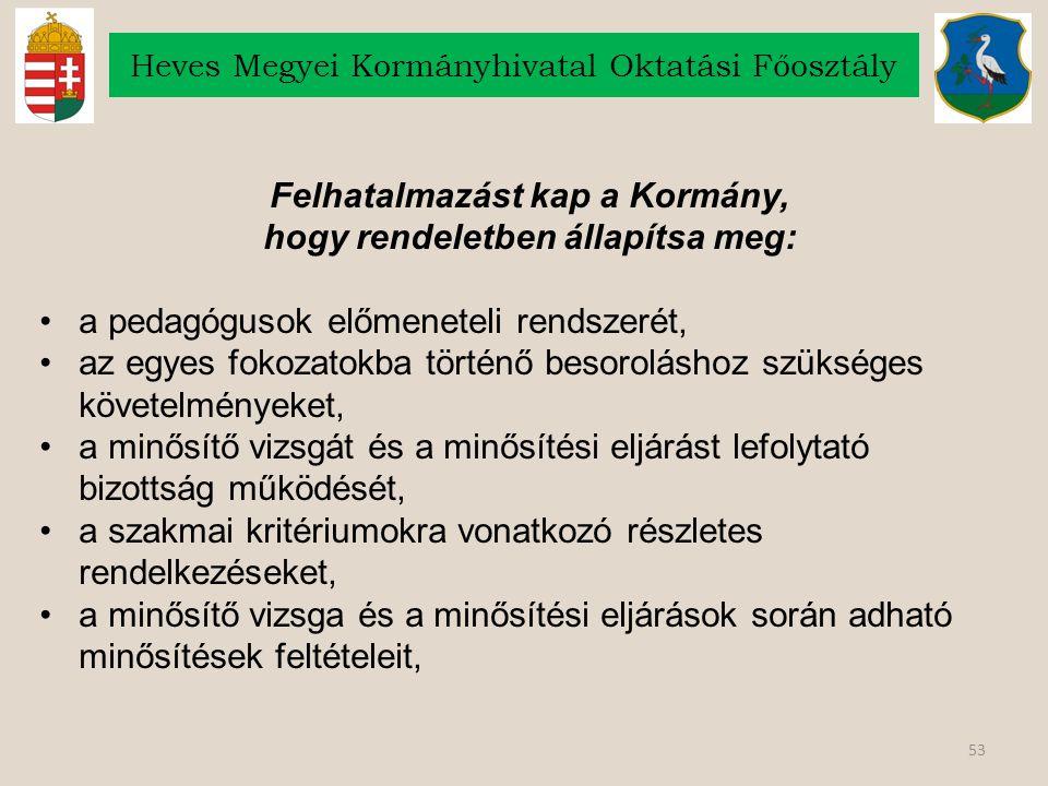 53 Heves Megyei Kormányhivatal Oktatási Főosztály Felhatalmazást kap a Kormány, hogy rendeletben állapítsa meg: a pedagógusok előmeneteli rendszerét,