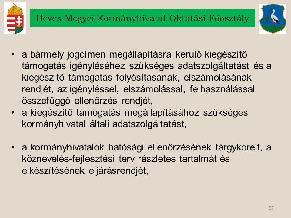 57 Heves Megyei Kormányhivatal Oktatási Főosztály a bármely jogcímen megállapításra kerülő kiegészítő támogatás igényléséhez szükséges adatszolgáltatá