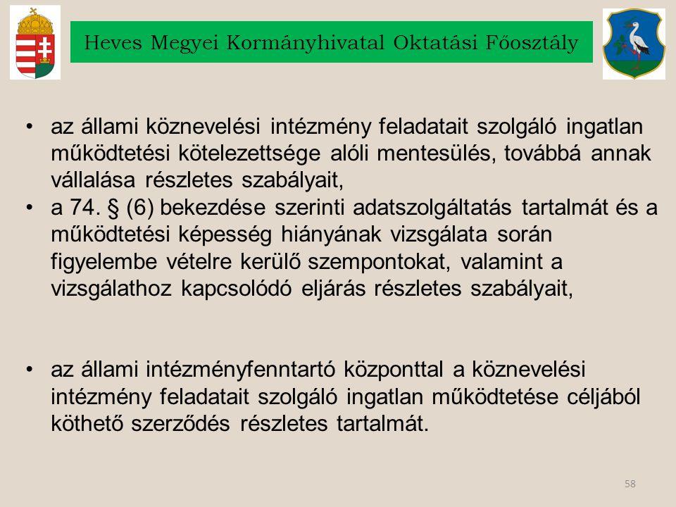 58 Heves Megyei Kormányhivatal Oktatási Főosztály az állami köznevelési intézmény feladatait szolgáló ingatlan működtetési kötelezettsége alóli mentes