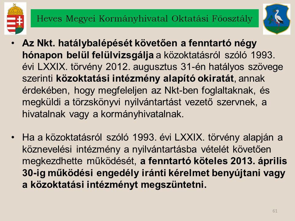 61 Heves Megyei Kormányhivatal Oktatási Főosztály Az Nkt.