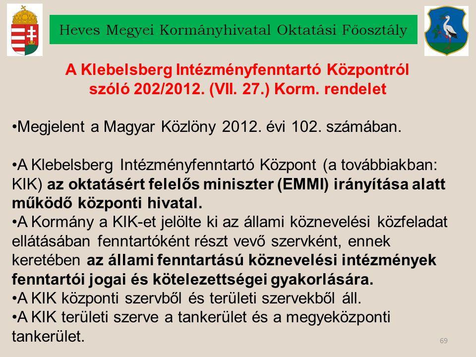 69 Heves Megyei Kormányhivatal Oktatási Főosztály A Klebelsberg Intézményfenntartó Központról szóló 202/2012. (VII. 27.) Korm. rendelet Megjelent a Ma