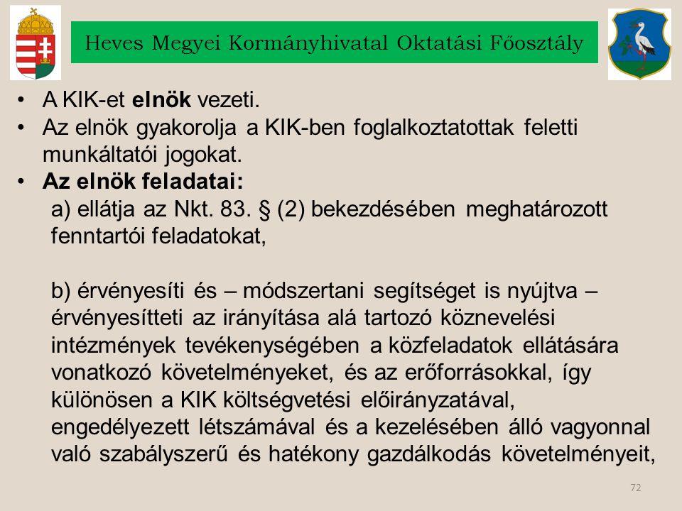 72 Heves Megyei Kormányhivatal Oktatási Főosztály A KIK-et elnök vezeti.