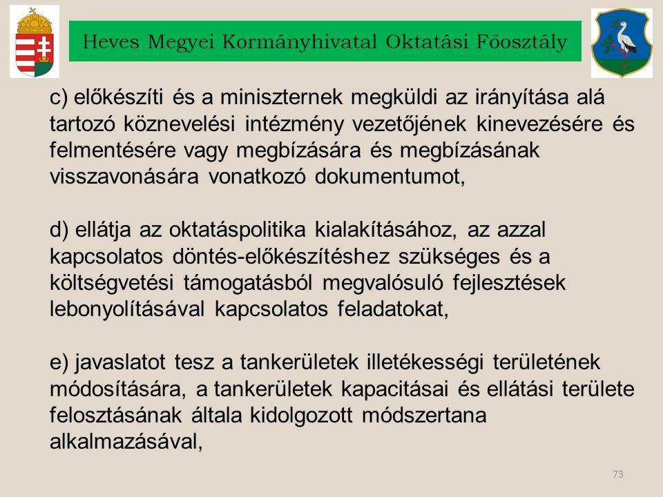 73 Heves Megyei Kormányhivatal Oktatási Főosztály c) előkészíti és a miniszternek megküldi az irányítása alá tartozó köznevelési intézmény vezetőjének