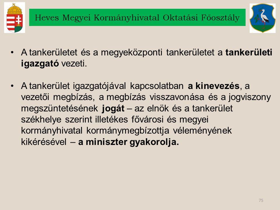 75 Heves Megyei Kormányhivatal Oktatási Főosztály A tankerületet és a megyeközponti tankerületet a tankerületi igazgató vezeti. A tankerület igazgatój