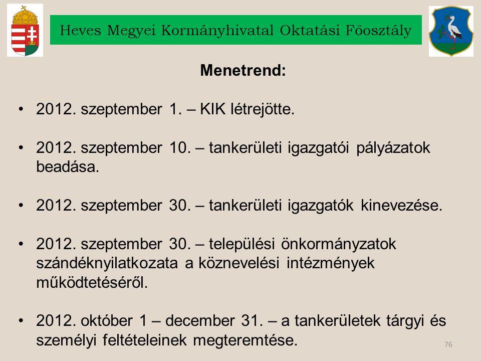 76 Heves Megyei Kormányhivatal Oktatási Főosztály Menetrend: 2012. szeptember 1. – KIK létrejötte. 2012. szeptember 10. – tankerületi igazgatói pályáz