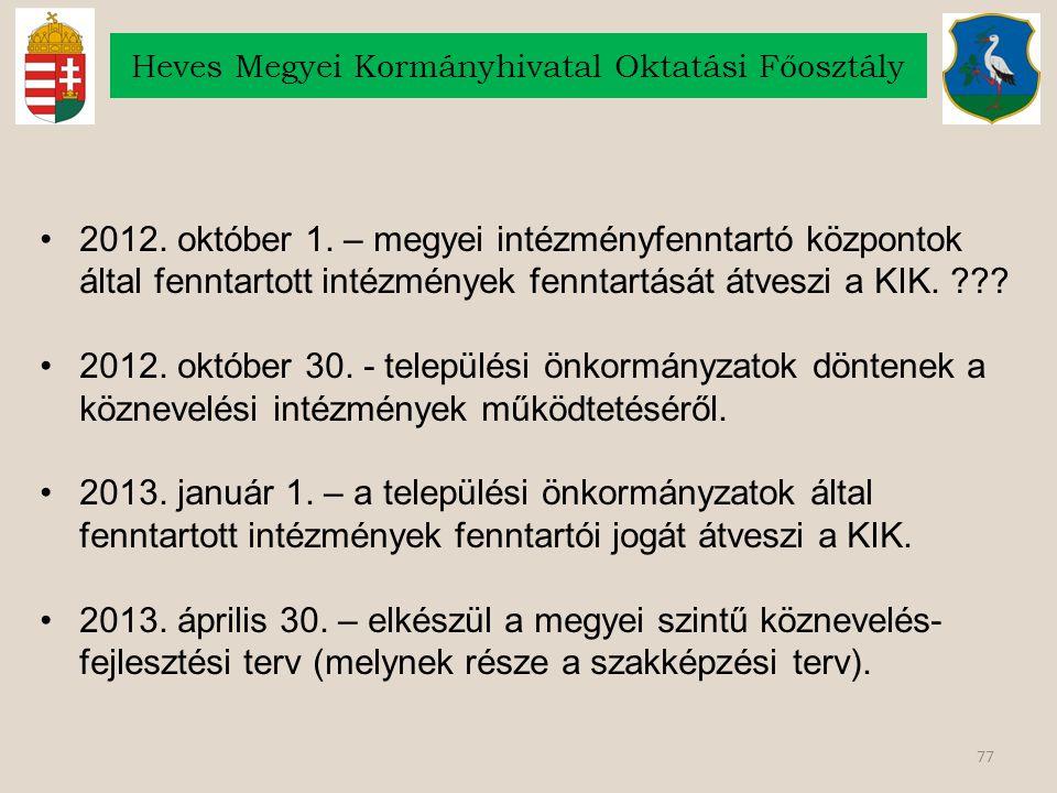 77 Heves Megyei Kormányhivatal Oktatási Főosztály 2012. október 1. – megyei intézményfenntartó központok által fenntartott intézmények fenntartását át
