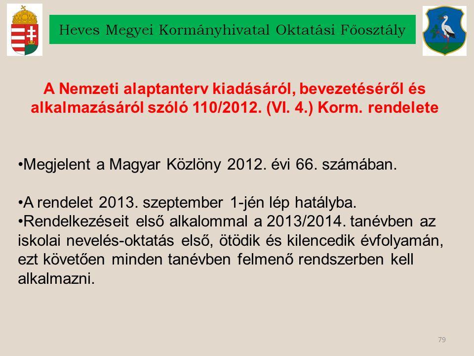 79 Heves Megyei Kormányhivatal Oktatási Főosztály A Nemzeti alaptanterv kiadásáról, bevezetéséről és alkalmazásáról szóló 110/2012. (VI. 4.) Korm. ren
