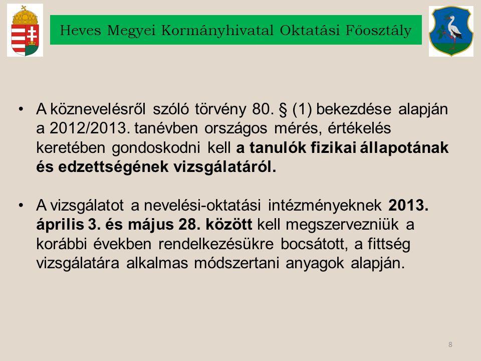8 Heves Megyei Kormányhivatal Oktatási Főosztály A köznevelésről szóló törvény 80. § (1) bekezdése alapján a 2012/2013. tanévben országos mérés, érték