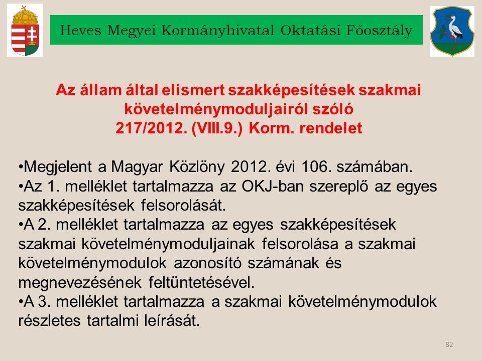 82 Heves Megyei Kormányhivatal Oktatási Főosztály Az állam által elismert szakképesítések szakmai követelménymoduljairól szóló 217/2012.