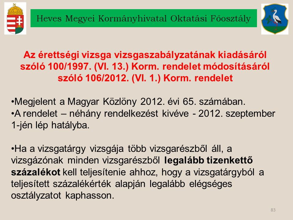 83 Heves Megyei Kormányhivatal Oktatási Főosztály Az érettségi vizsga vizsgaszabályzatának kiadásáról szóló 100/1997. (VI. 13.) Korm. rendelet módosít