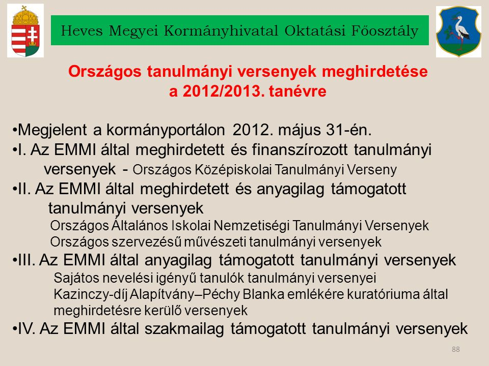 88 Heves Megyei Kormányhivatal Oktatási Főosztály Országos tanulmányi versenyek meghirdetése a 2012/2013. tanévre Megjelent a kormányportálon 2012. má