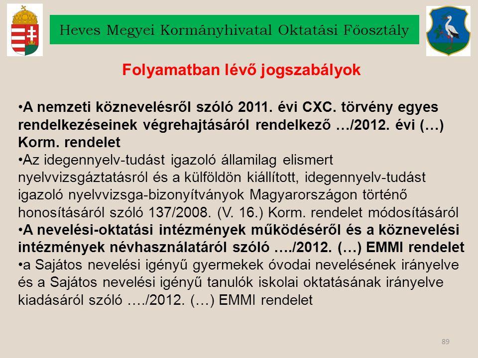 89 Heves Megyei Kormányhivatal Oktatási Főosztály Folyamatban lévő jogszabályok A nemzeti köznevelésről szóló 2011. évi CXC. törvény egyes rendelkezés