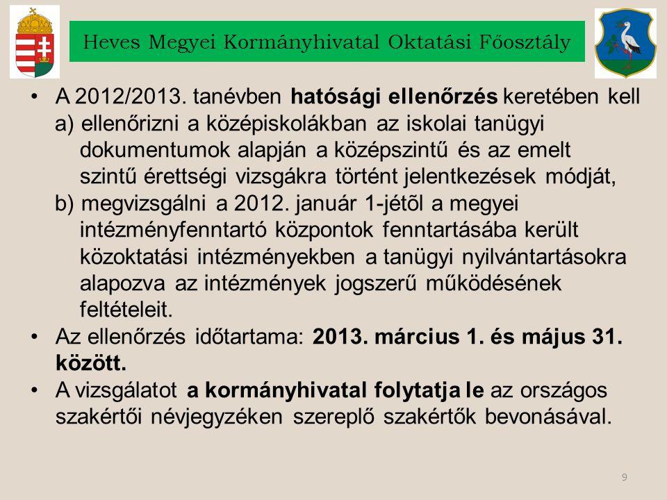 9 Heves Megyei Kormányhivatal Oktatási Főosztály A 2012/2013. tanévben hatósági ellenőrzés keretében kell a) ellenőrizni a középiskolákban az iskolai