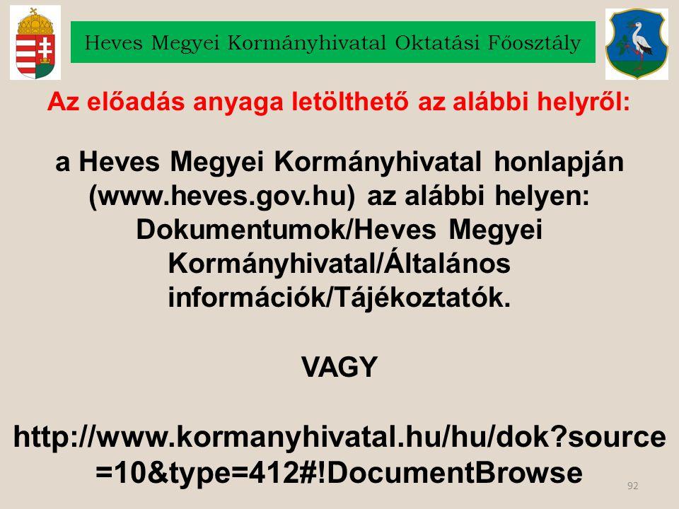 Az előadás anyaga letölthető az alábbi helyről: a Heves Megyei Kormányhivatal honlapján (www.heves.gov.hu) az alábbi helyen: Dokumentumok/Heves Megyei Kormányhivatal/Általános információk/Tájékoztatók.