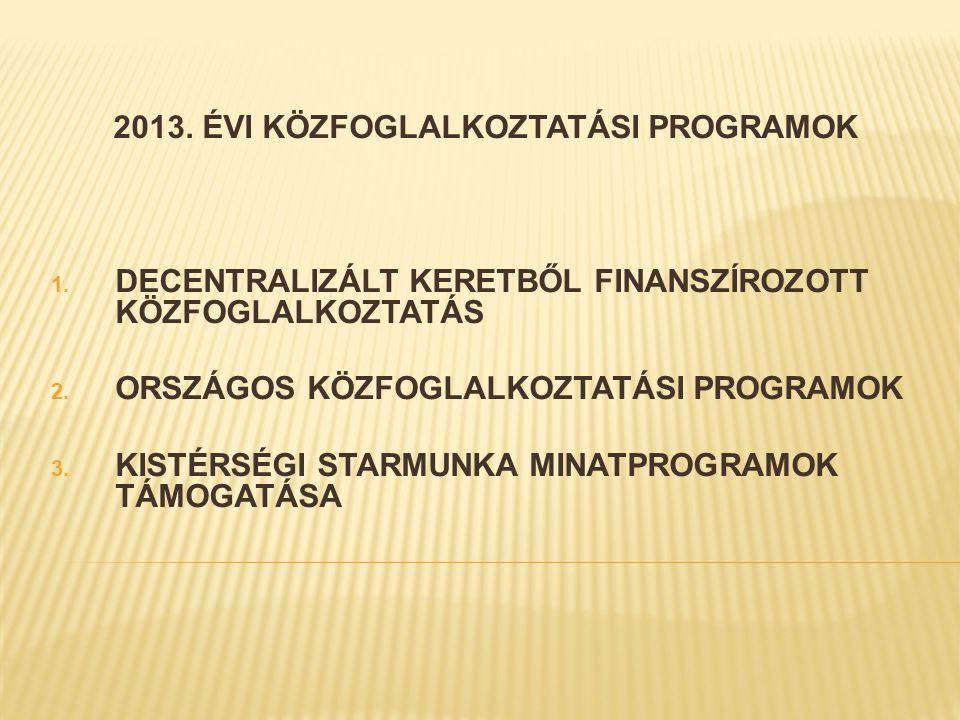 2013. ÉVI KÖZFOGLALKOZTATÁSI PROGRAMOK 1.