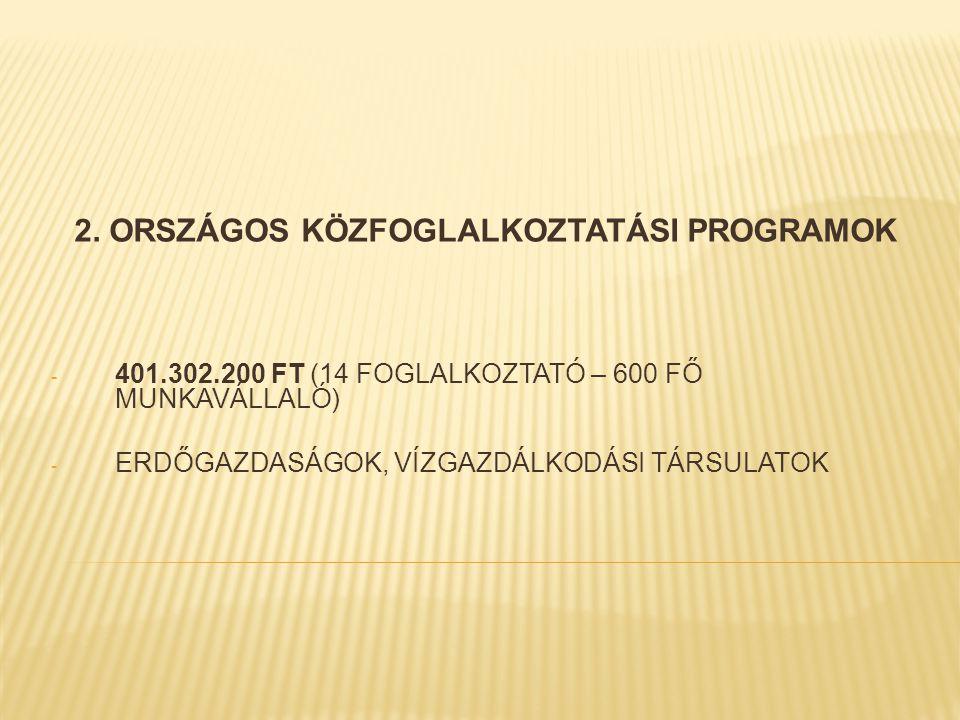 2. ORSZÁGOS KÖZFOGLALKOZTATÁSI PROGRAMOK - 401.302.200 FT (14 FOGLALKOZTATÓ – 600 FŐ MUNKAVÁLLALÓ) - ERDŐGAZDASÁGOK, VÍZGAZDÁLKODÁSI TÁRSULATOK