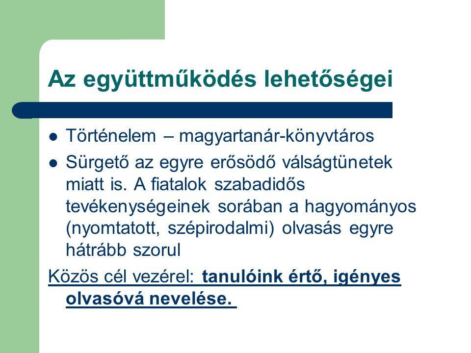 Történelem – magyartanár-könyvtáros Sürgető az egyre erősödő válságtünetek miatt is. A fiatalok szabadidős tevékenységeinek sorában a hagyományos (nyo