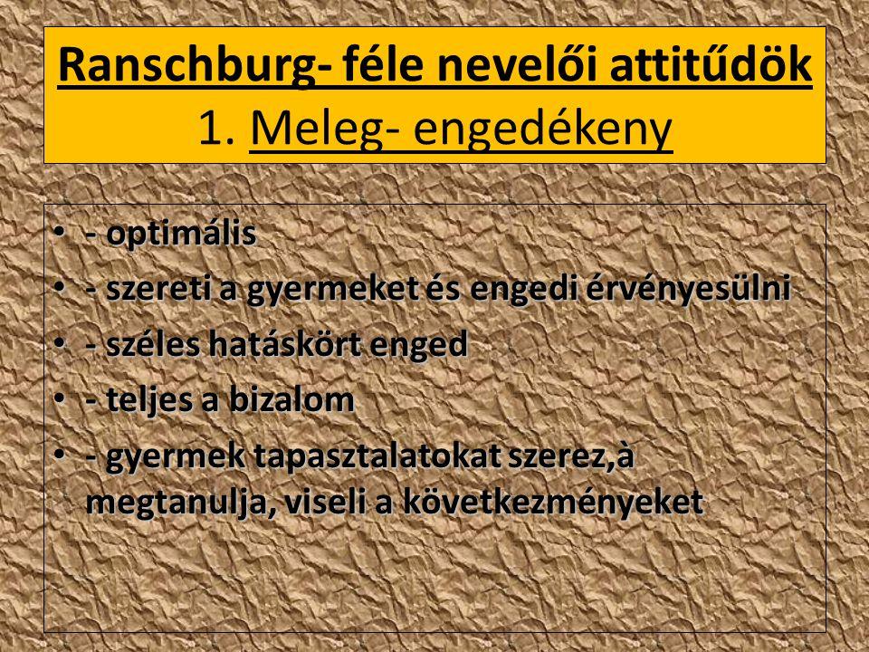 Ranschburg- féle nevelői attitűdök 1. Meleg- engedékeny - optimális - optimális - szereti a gyermeket és engedi érvényesülni - szereti a gyermeket és