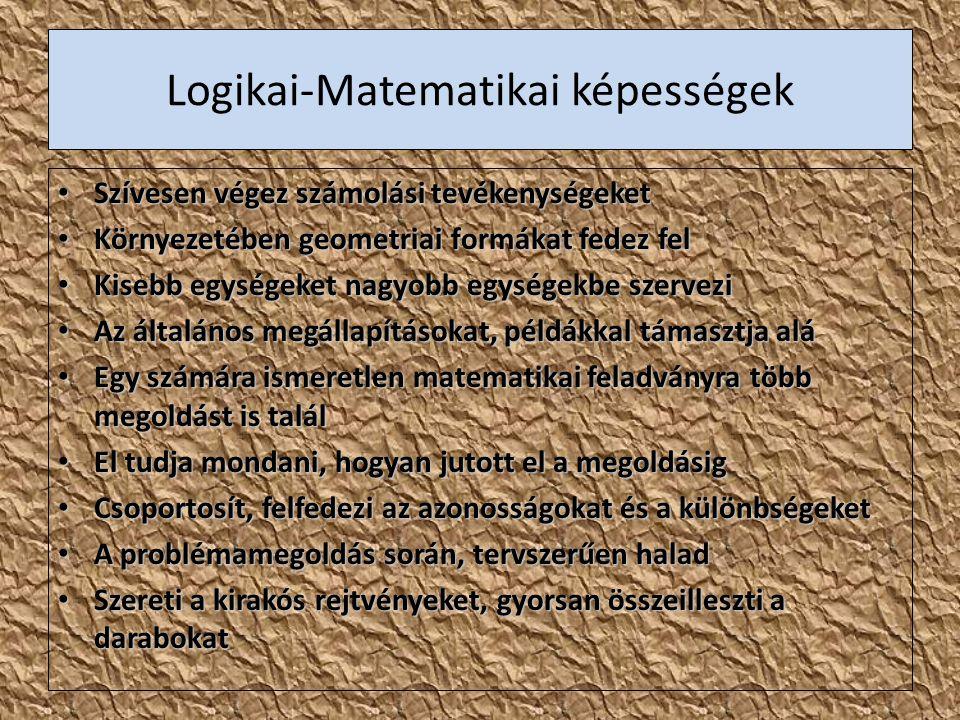 Logikai-Matematikai képességek Szívesen végez számolási tevékenységeket Szívesen végez számolási tevékenységeket Környezetében geometriai formákat fed