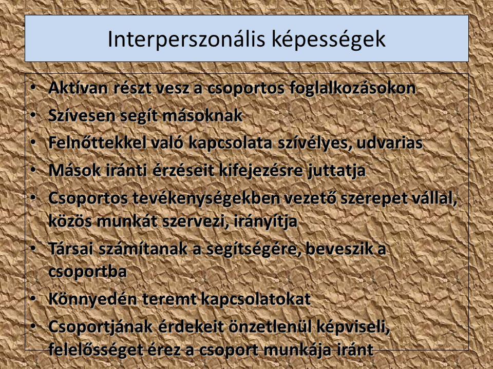 Interperszonális képességek Aktívan részt vesz a csoportos foglalkozásokon Aktívan részt vesz a csoportos foglalkozásokon Szívesen segít másoknak Szív