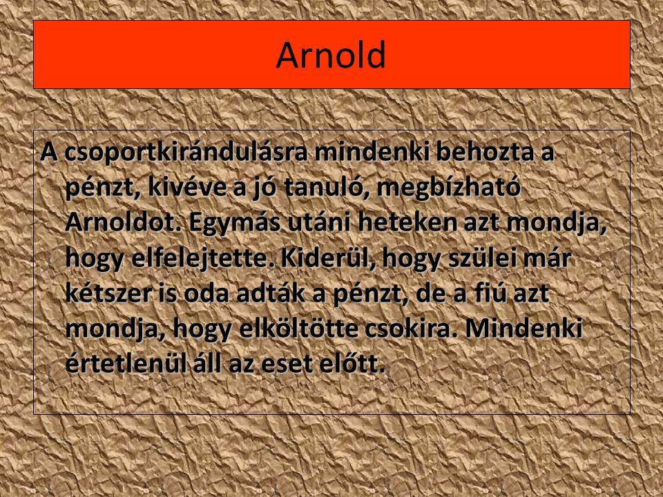 Arnold A csoportkirándulásra mindenki behozta a pénzt, kivéve a jó tanuló, megbízható Arnoldot. Egymás utáni heteken azt mondja, hogy elfelejtette. Ki