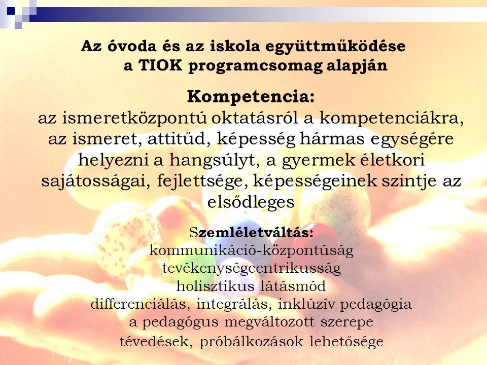 Az óvoda és az iskola együttműködése a TIOK programcsomag alapján Kompetencia: az ismeretközpontú oktatásról a kompetenciákra, az ismeret, attitűd, képesség hármas egységére helyezni a hangsúlyt, a gyermek életkori sajátosságai, fejlettsége, képességeinek szintje az elsődleges S zemléletváltás: kommunikáció-központúság tevékenységcentrikusság holisztikus látásmód differenciálás, integrálás, inklúzív pedagógia a pedagógus megváltozott szerepe tévedések, próbálkozások lehetősége