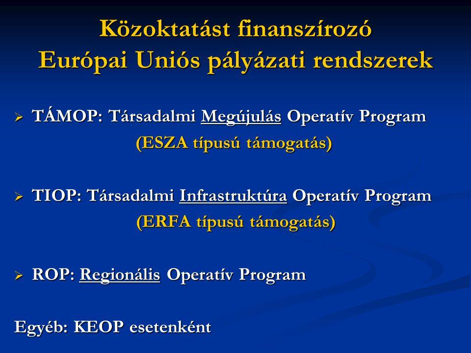 Közoktatást finanszírozó Európai Uniós pályázati rendszerek  TÁMOP: Társadalmi Megújulás Operatív Program (ESZA típusú támogatás)  TIOP: Társadalmi