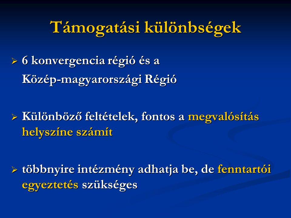 Támogatási különbségek  6 konvergencia régió és a Közép-magyarországi Régió  Különböző feltételek, fontos a megvalósítás helyszíne számít  többnyir