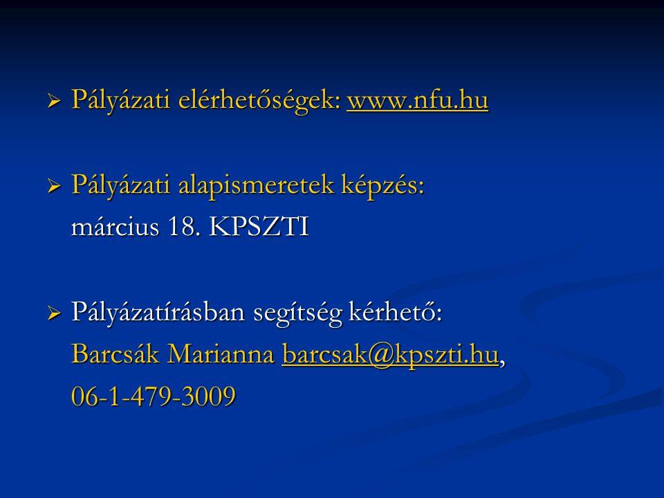  Pályázati elérhetőségek: www.nfu.hu www.nfu.hu  Pályázati alapismeretek képzés: március 18. KPSZTI  Pályázatírásban segítség kérhető: Barcsák Mari