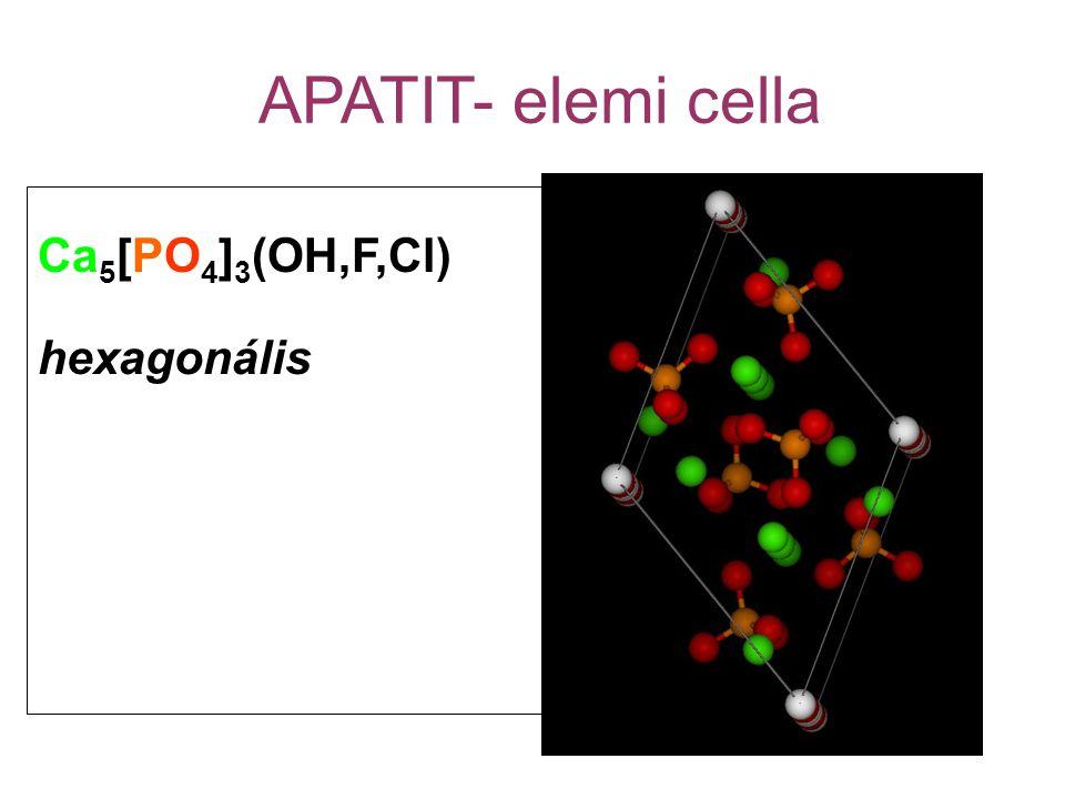 APATIT- elemi cella Ca 5 [PO 4 ] 3 (OH,F,Cl) hexagonális