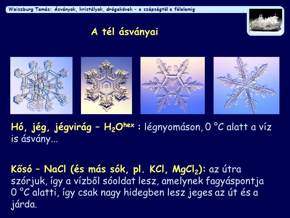 Weiszburg Tamás: Ásványok, kristályok, drágakövek – a szépségtől a félelemig A tél ásványai Kősó – NaCl (és más sók, pl. KCl, MgCl 2 ): az útra szórju