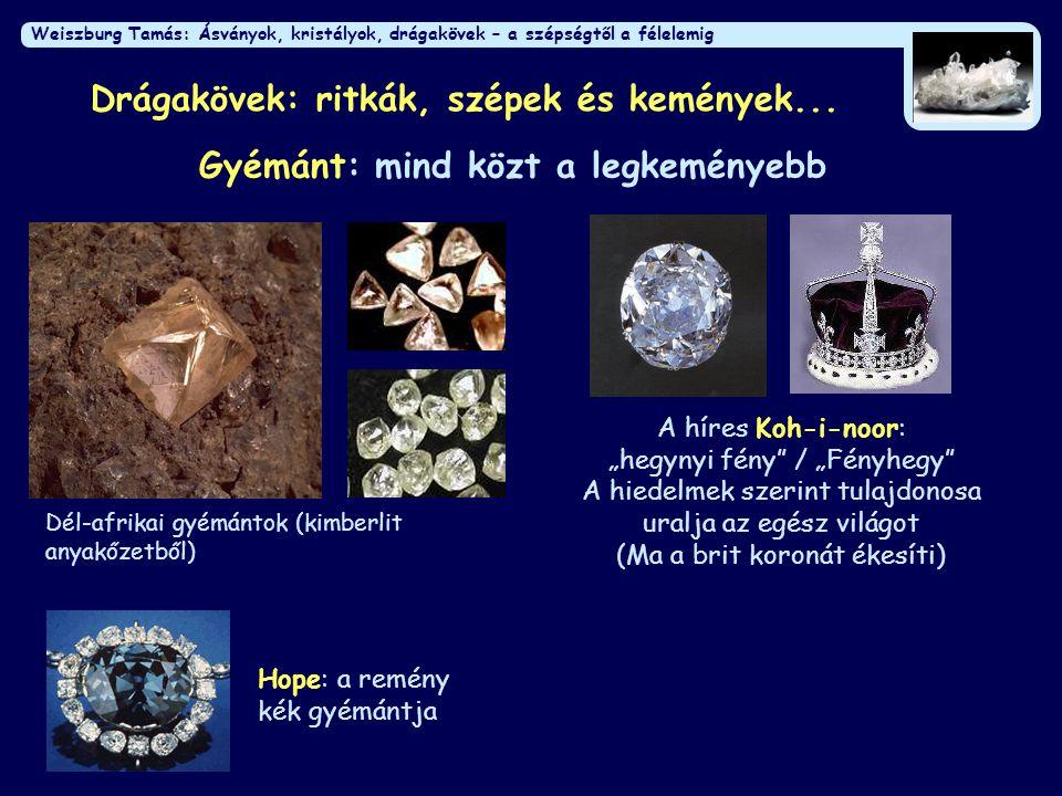 Weiszburg Tamás: Ásványok, kristályok, drágakövek – a szépségtől a félelemig Drágakövek: ritkák, szépek és kemények... Gyémánt: mind közt a legkeménye