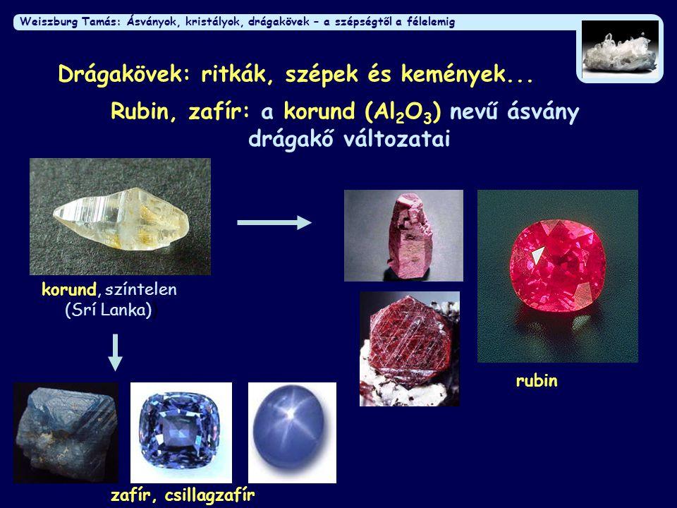 Weiszburg Tamás: Ásványok, kristályok, drágakövek – a szépségtől a félelemig Drágakövek: ritkák, szépek és kemények... Rubin, zafír: a korund (Al 2 O