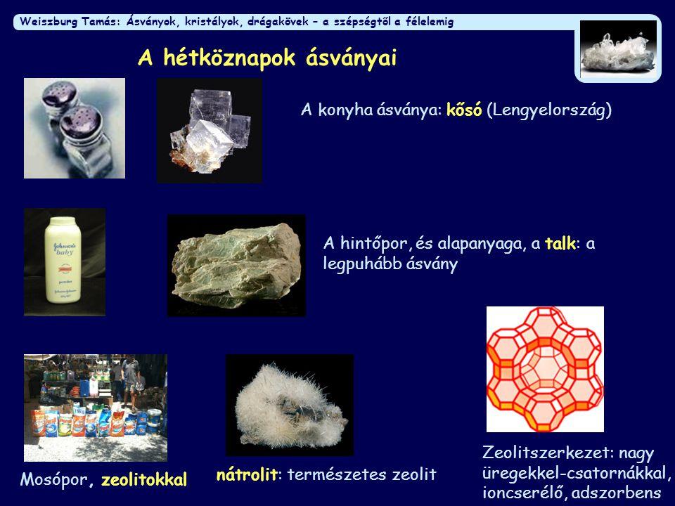 Weiszburg Tamás: Ásványok, kristályok, drágakövek – a szépségtől a félelemig A hétköznapok ásványai A hintőpor, és alapanyaga, a talk: a legpuhább ásvány nátrolit: természetes zeolit Mosópor, zeolitokkal Zeolitszerkezet: nagy üregekkel-csatornákkal, ioncserélő, adszorbens A konyha ásványa: kősó (Lengyelország)