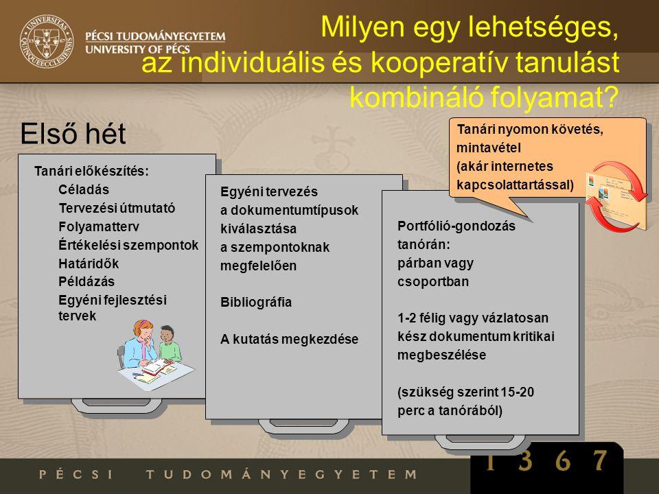 Milyen egy lehetséges, az individuális és kooperatív tanulást kombináló folyamat? Első hét Tanári előkészítés: Céladás Tervezési útmutató Folyamatterv