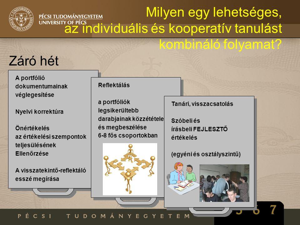 Milyen egy lehetséges, az individuális és kooperatív tanulást kombináló folyamat? Záró hét A portfólió dokumentumainak véglegesítése Nyelvi korrektúra