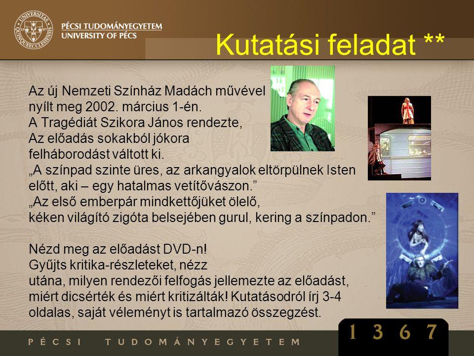 Kutatási feladat ** Az új Nemzeti Színház Madách művével nyílt meg 2002. március 1-én. A Tragédiát Szikora János rendezte, Az előadás sokakból jókora