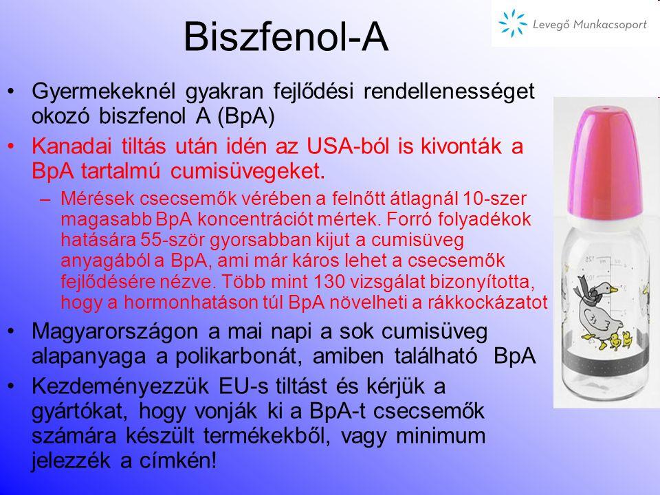 –Tűzálló adalékanyagok: PBDE-k (polibrómozott-difenil-éterek) televízió, számítógép, ruhanemű, bútor, párna tartalmazhatja most kezdődött a korlátozásuk műszaki cikkekben, SVHC listán több PBDE Embernél hozzájárulhat rák kialakulásához Norvégia a penta-BDE-t POP-nak minmősítettné –POP: Persistent Organic Pollutant: Nehezen Lebomló Szerves Szennyezőanyagok, melyek a Stockholmi Konvenció keretében lettek korlátozva (pl.: DDT) Néhány káros, korlátozásra került / kerülő vegyi anyag a mindennapokból