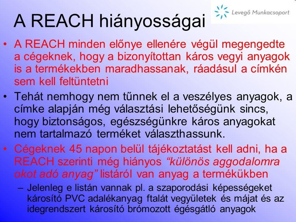 Korlátozási eljárás A korlátozási eljárás biztonsági hálóról gondoskodik azoknak a kockázatoknak a kezelésére, amelyekkel a REACH-rendszer más része n