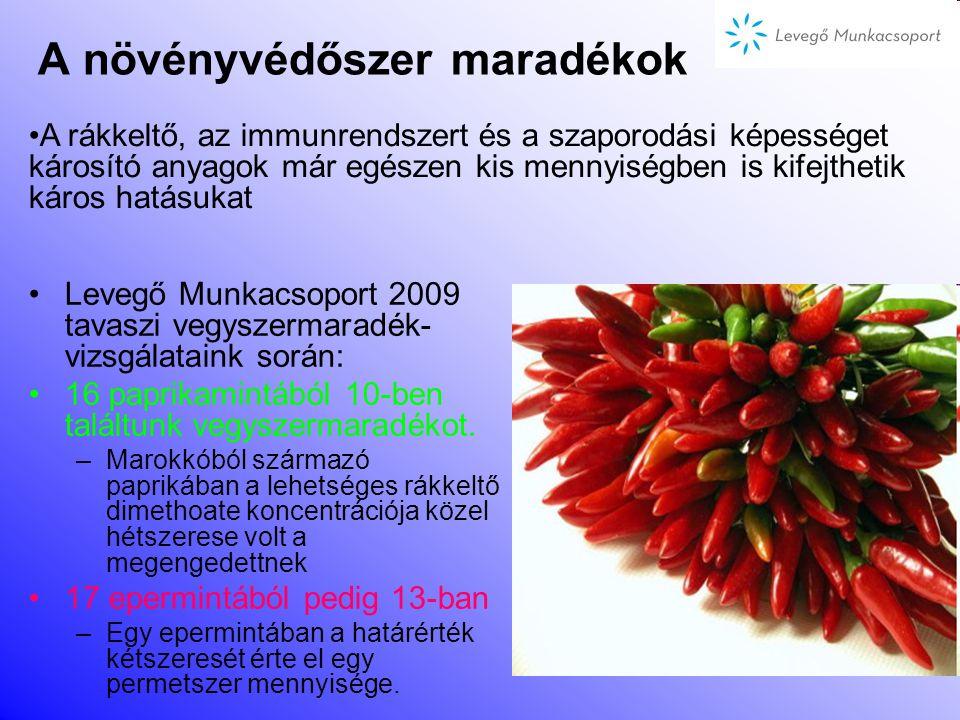 A növényvédőszer maradékok A hivatalos vizsgálatok szerint a hazai boltokban kapható zöldségek és gyümölcsök közel fele tartalmaz vegyszermaradékokat