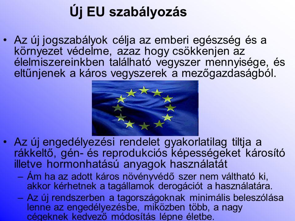 Peszticid használat szabályozása Az '50-es évek óta csak hatósági engedéllyel lehet Magyarországon növényvédőszert forgalmazni és felhasználni.