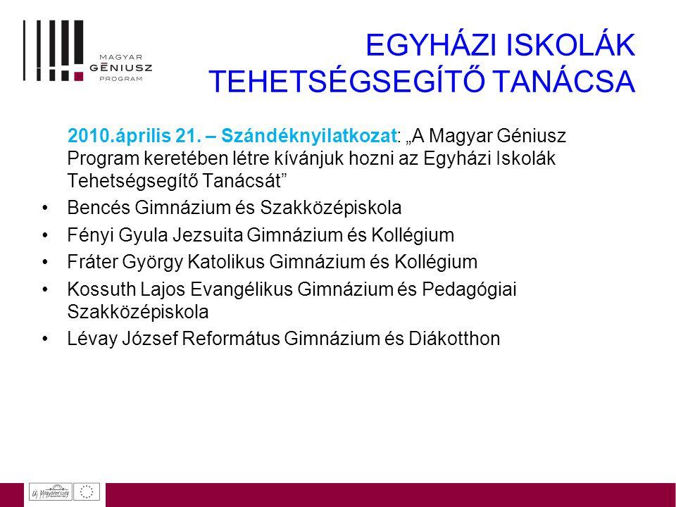 """EGYHÁZI ISKOLÁK TEHETSÉGSEGÍTŐ TANÁCSA 2010.április 21. – Szándéknyilatkozat: """"A Magyar Géniusz Program keretében létre kívánjuk hozni az Egyházi Isko"""