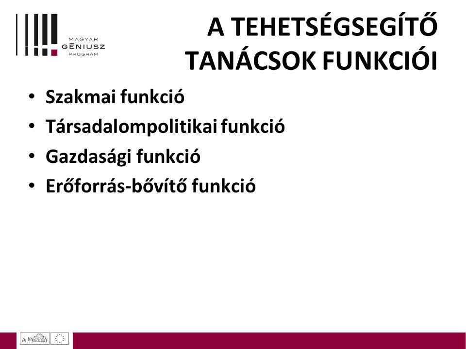 A TEHETSÉGSEGÍTŐ TANÁCSOK FUNKCIÓI Szakmai funkció Társadalompolitikai funkció Gazdasági funkció Erőforrás-bővítő funkció