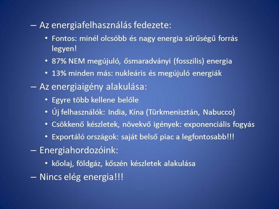 – Az energiafelhasználás fedezete: Fontos: minél olcsóbb és nagy energia sűrűségű forrás legyen! 87% NEM megújuló, ősmaradványi (fosszilis) energia 13