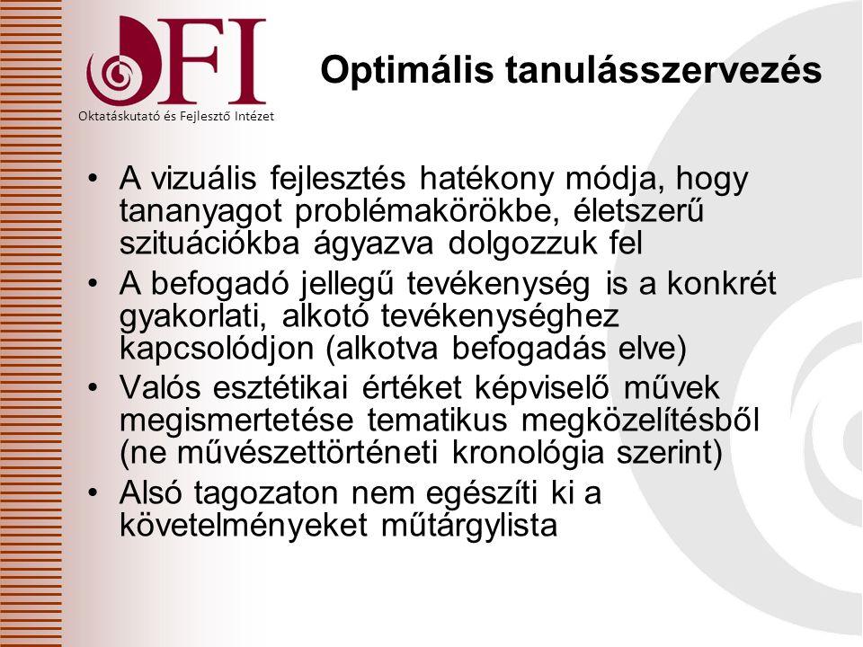 Oktatáskutató és Fejlesztő Intézet Optimális tanulásszervezés A vizuális fejlesztés hatékony módja, hogy tananyagot problémakörökbe, életszerű szituác