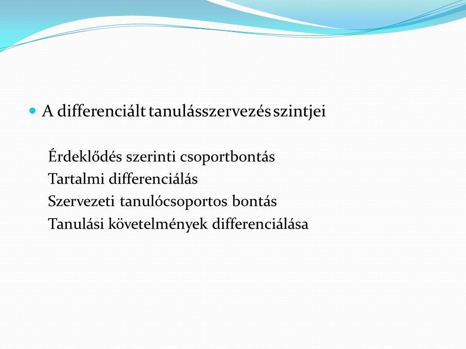 A differenciált tanulásszervezés szintjei Érdeklődés szerinti csoportbontás Tartalmi differenciálás Szervezeti tanulócsoportos bontás Tanulási követel